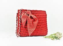 Kabelky - Kabelka veľká háčkovaná Red (natur) - 9807512_