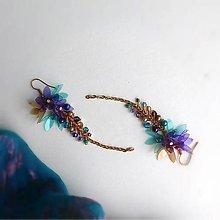 Náušnice - VÝPREDAJ tyrkysovo fialové - 9807519_