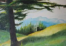 Obrazy - Strom a hory  - predaný - 9807216_