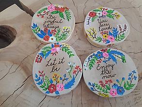 Pomôcky - Drevené podložky pod poháre- kvety - 9807293_