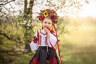 Ozdoby do vlasov - Folklórna svadobná kvetinová parta červená UNI veľkosť - 9807598_
