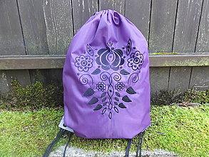 Batohy - Batoh - fialový s výšivkou - 9806964_