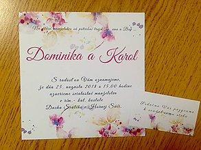 Papiernictvo - svadobné oznámenie kvety - 9807388_