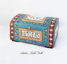 Nábytok - Maľovaná truhlica (miniatúra L -V16cm - D27cm - Š19.5cm) - 9806226_
