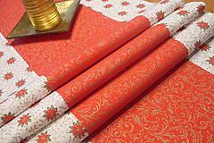 Úžitkový textil - Vianočná štóla červeno zlatá - 9806891_