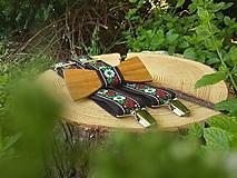 - Pánsky set - drevený motýlik a traky - 9806669_