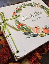 Papiernictvo - Fotoalbum klasický, papierový obal so štruktúrou plátna a ľubovoľnou potlačou (Fotoalbum klasický, papierový obal so štruktúrou plátna a  potlačou kvetinového venčeka) - 9807225_