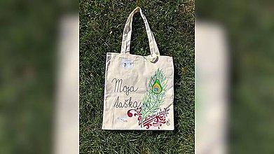 Iné tašky - ♥ Plátená, ručne maľovaná taška ♥ - 9807389_