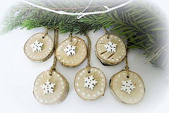 Dekorácie - Vianočné ozdoby prírodné s vločkou - 9807342_