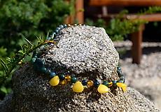 Náhrdelníky - Achát machový s citínom a nefritom - náhrdelník úspechu - 9807994_