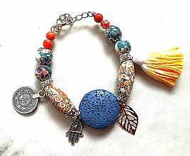 Náramky - Boho náramky z mineralov (Modro oranzovy) - 9808006_