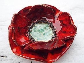 Socha - Makový svietnik (kvet priemer 19X5 cm - Červená) - 9806254_