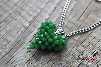 Náhrdelníky - prívesok srdiečko (srdiečko zelené - kľúčenka) - 9809869_