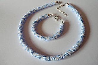 Sady šperkov - Jemná modrá súprava náhrdelník a náramok - 9810033_
