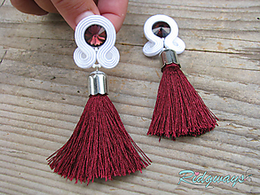 Náušnice - White + colors - tassel...soutache (White/Bordeaux) - 9809235_