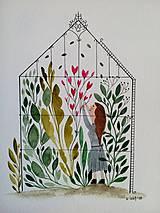 Obrazy - V skleníku ilustrácia / originál maľba  - 9811281_