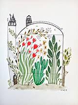 Skleník tulipány ilustrácia / originál maľba