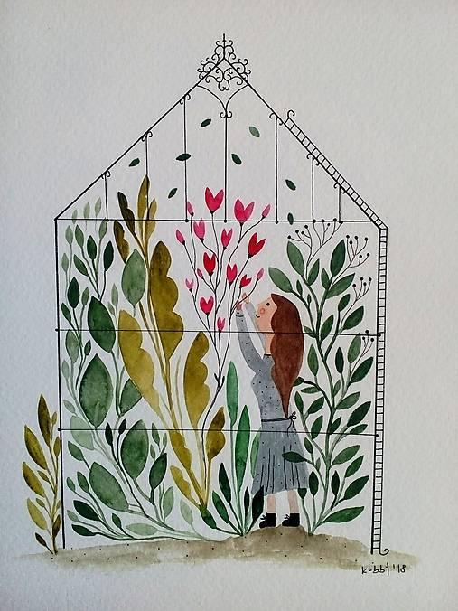 V skleníku ilustrácia / originál maľba