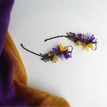 Náušnice - VÝPREDAJ fialovo žlté - 9811022_
