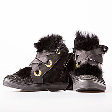 Obuv - Black Suede Furry Ankle Boots - 9809939  4a6b1117951