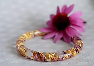Náramky - Náramok Vres a zlato (2479 A) - 9811245_