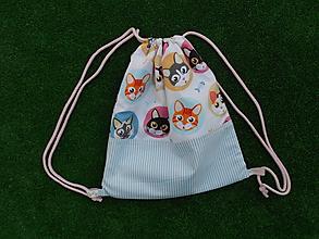 Detské tašky - Batôžtek - mačičky s modrým prúžkom - 9810558_