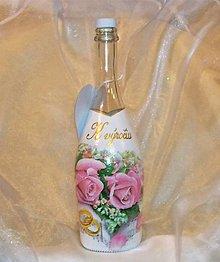Nádoby - Ozdobná fľaša K výročiu svadby Ružičková - 9811735_