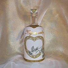 Nádoby - Ozdobná fľaša k výročiu svadby Holúbky - 9811824_