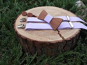 Doplnky - Pánsky set - drevený motýlik, manžetové gombíky a - 9809476_