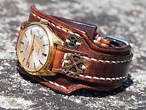Náramky - Kožený remienok na starožitné hodinky Prim II - 9811304_