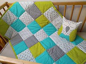 Textil - Detská deka Tyrkys/Kiwi - 9810777_