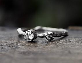 Prstene - Vetvičkový s brúseným zirkónom - 9811349_