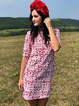 Tehotenské oblečenie - Šaty na dojčenie FOLK - červené ľudové vtáčiky - 9810056_