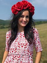 Tehotenské oblečenie - Šaty na dojčenie FOLK - červené ľudové vtáčiky - 9810059_