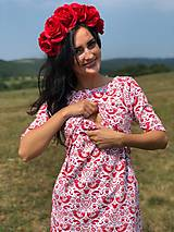 Tehotenské oblečenie - Šaty na dojčenie FOLK - červené ľudové vtáčiky - 9810060_