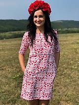 Tehotenské oblečenie - Šaty na dojčenie FOLK - červené ľudové vtáčiky - 9810061_