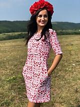 Tehotenské oblečenie - Šaty na dojčenie FOLK - červené ľudové vtáčiky - 9810062_