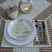 Úžitkový textil - Zlato červený chevron a bodky na smotanovej - vianočné textilné prestieranie 25x35 - 9811053_