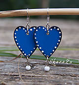 Náušnice - Heart dots // Blue - 9811650_