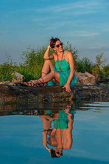 Šaty - Bavlnené letné tyrkysové - 9809408_