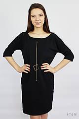Šaty - Dámske šaty s vreckami čierne z úpletu M15 IO17 - 9809124_