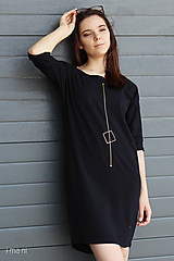 Šaty - Dámske šaty s vreckami čierne z úpletu IO17 - 9809125_
