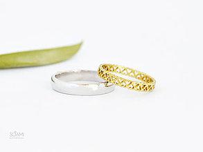 Prstene - Snubné prstene obrúčky 585/1000 zlatý a 925/1000 strieborný prsteň - 9813181_