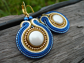 Náušnice - VÝPREDAJ! Soutache náušnice Ivory...Gold and Blue - 9813071_