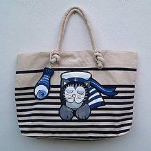 Veľké tašky - Modrobílá taška Sailor Cat - 9813962_