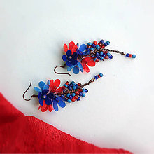Náušnice - trsy modro červené - 9813652_