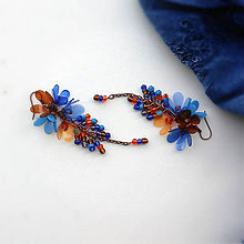 Náušnice - trsy hnedo modré - 9814427_