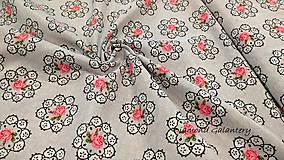 Textil - Bavlna režná - Ruže v krúžku - cena za 10 cm - 9813561_