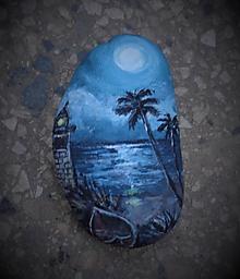 Dekorácie - Pri mori - maľovaný kamienok - 9814417_