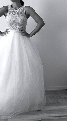 39f2d234ddc0 Šaty - Svadobné šaty s krajkovým topom a s tylovou sukňou - 9813543